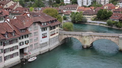 A boat on the Aare river in Bern Stock Footage