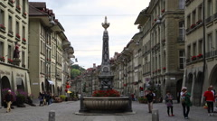 Asian Tourists in Bern's Old City Stock Footage