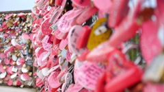 Love Lock on a Bridge. Closeup of Love Padlocks Stock Footage