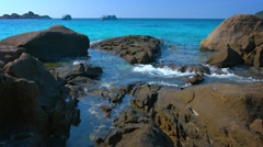 Tidepools in the Rocks on a Tropical Sea Stock Footage