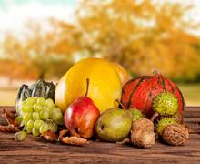 Fall fruit and vegetables on wood. Thanksgiving concept - stock photo