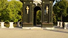 trellised gazebo near Branicki Palace in Bialystok - stock footage