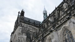 Cathedral of Magdeburg at river Elbe, Germany Stock Footage