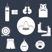 Boxing theme icons - stock illustration