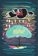 Stock Illustration of Think Positive Motivational poster Doodle quote