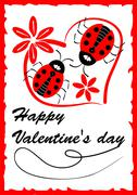 Two ladybugs in heart shape with red flowers - Valentine day postcard with lo - stock illustration