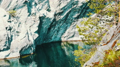 Beautiful Landscape of Marble Canyon Ruskeala Karelia, Russia Stock Footage