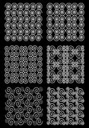 Set of classic patterned tiles, ornament composed from spiral, white drawing  Stock Illustration