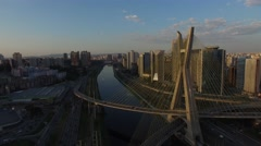 Aerial View of the Ponte Estaiada and Skyscrapers in Sao Paulo, Brazil Stock Footage