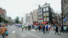Amsterdam, protesters against cuts in healthcare sector, Red Care manifestation. - stock footage