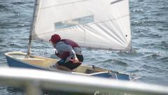 Sailing regatta. Yachtsman take control of the sail. Stock Footage