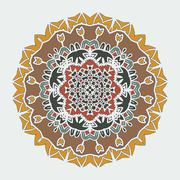 Stylized Mandala Art. Vector ornamental round lace with damask and arabesque - stock illustration