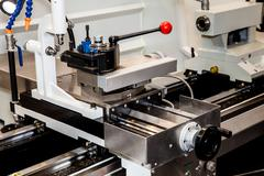 Conventional Precision Lathe with servo drive - stock photo