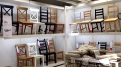 One side of display chairs inside Ikea store Stock Footage