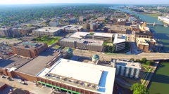 Aerial tour of scenic urban downtown district. Stock Footage