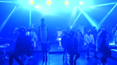 A Crowd Of People using Virtual Reality Glasses on Perfomance Show - stock footage