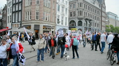 Protesters against cuts in healthcare sector, Red Care manifestation, Amsterdam. - stock footage