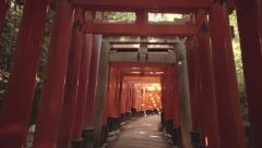 POV walk through the famous orange gates at Fushimi Inari Shinto shrine in Kyoto - stock footage