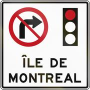 No Right Turn On Red in Montreal - stock illustration