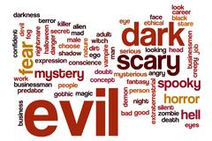Evil word cloud concept - stock illustration