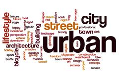 Urban word cloud concept - stock illustration