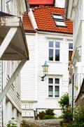 Little street in Bergen Stock Photos