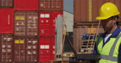 Business team at a commercial dock inspect shipment for delivery. Shot on RED Ep Stock Footage