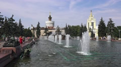 The Stone Flower Fountain (in 4k) inside VDNKh, Moscow, Russia. Stock Footage