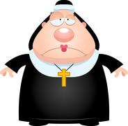 Sad Cartoon Nun Stock Illustration