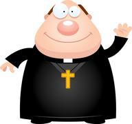 Cartoon Priest Waving - stock illustration