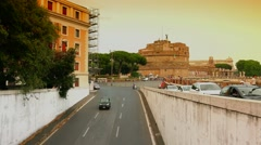 ULTRA HD 4K real time shot,The Rome Skyline Italy, Bridge from Tiber in Rome Stock Footage