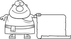 Cartoon Buddhist Monk Sign - stock illustration