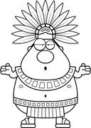 Stock Illustration of Confused Cartoon Aztec King