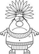 Sad Cartoon Aztec King Stock Illustration