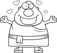 Cartoon Buddhist Monk Hug Stock Illustration