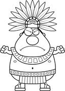 Stock Illustration of Angry Cartoon Aztec King