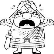 Scared Cartoon Celtic Warrior Stock Illustration
