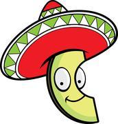 Stock Illustration of Cartoon Avocado Sombrero
