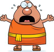 Scared Cartoon Buddhist Monk - stock illustration