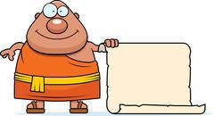 Cartoon Buddhist Monk Sign Stock Illustration