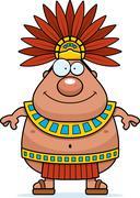 Stock Illustration of Happy Cartoon Aztec King