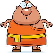 Surprised Cartoon Buddhist Monk Stock Illustration