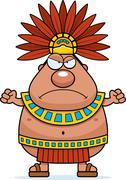 Stock Illustration of Angry Cartoon Aztec King