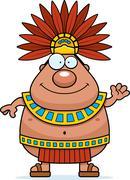 Cartoon Aztec King Waving Stock Illustration