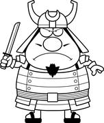 Angry Cartoon Samurai - stock illustration