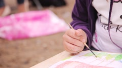 children draw with crayons and paints - stock footage