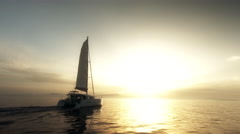 Sailboat On Sunset Stock Footage