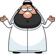 Confused Cartoon Sheikh - stock illustration