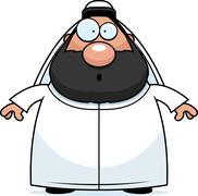 Surprised Cartoon Sheikh - stock illustration