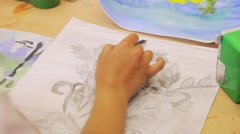 Stock Video Footage of children draw with crayons and paints